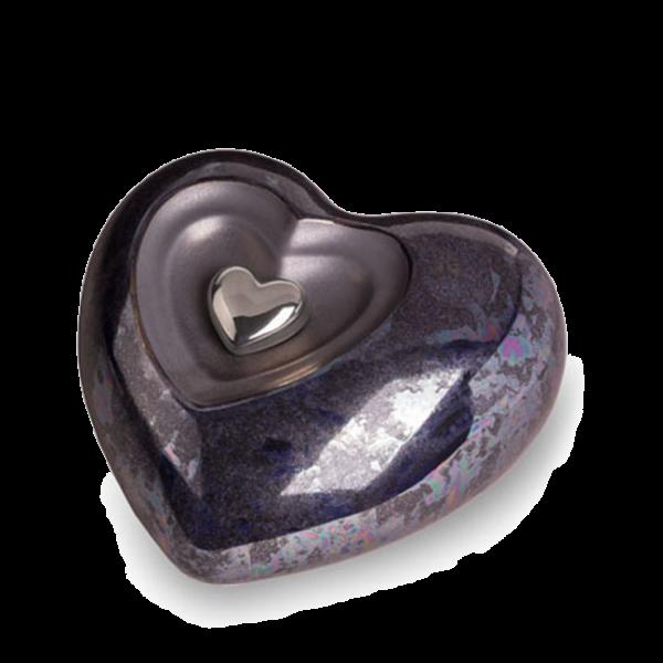 Keramikurne Herz grau mit silber