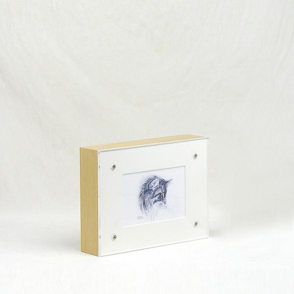 Bilderrahmenurne aus Holz (natur) für Tiere